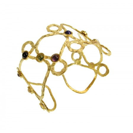 Semi-Precious Sculptural Cuff Bangle