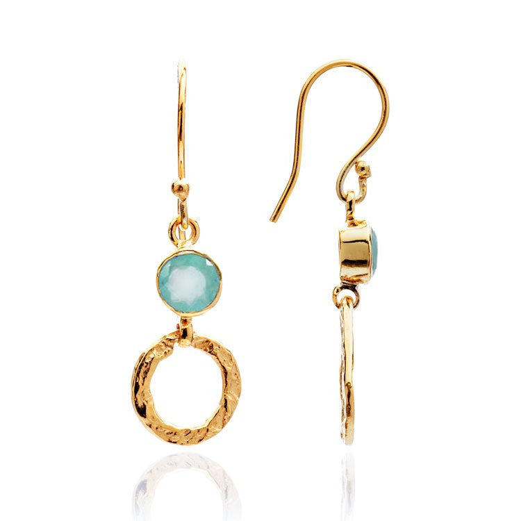 Aqua Chalcedony Small Hoop Earrings