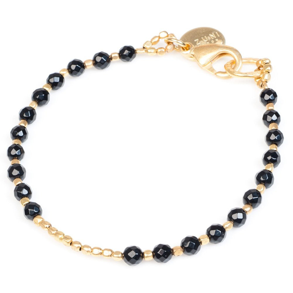 Black Onyx Gold Plated Bracelet