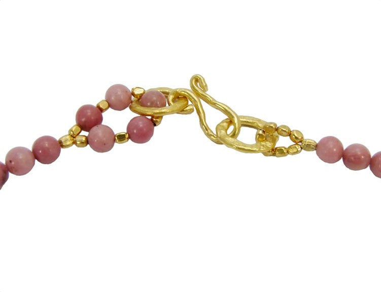 Rhodonite Gold Plated Hoop Necklace