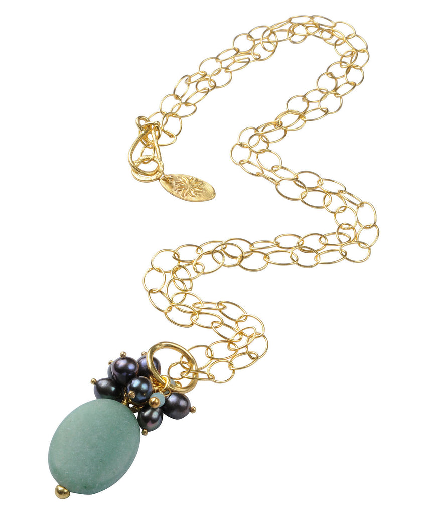 Freshwater Pearls & Aventurine Necklace