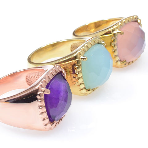 Semi-Precious Gold Plated Rings