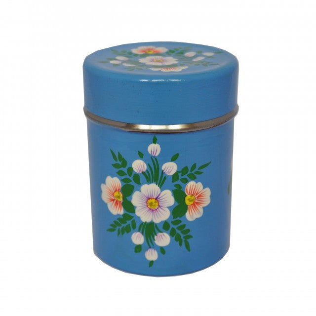 Azure Blue Hand Painted Enamel Tea Caddy