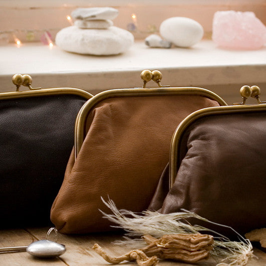 Large Dark Chocolate Leather Clutch Bag