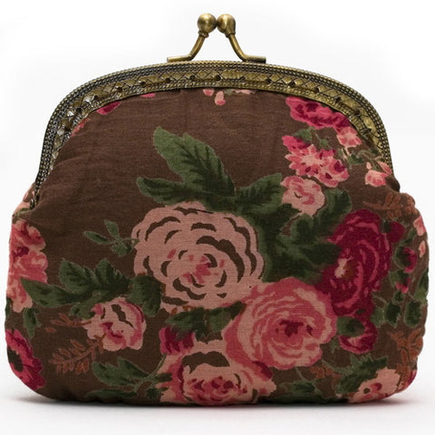 Brown Vintage Rose Clip Purse