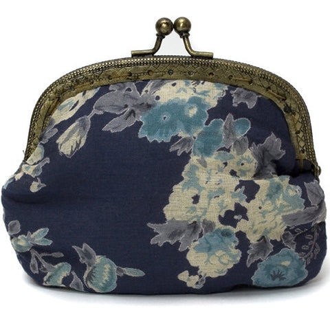 Dark Blue Vintage Rose Clip Purse