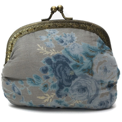 Powder Grey Rose Clip Purse