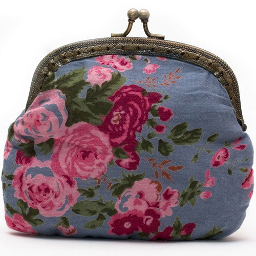 Smoky Blue Vintage Rose Clip Purse