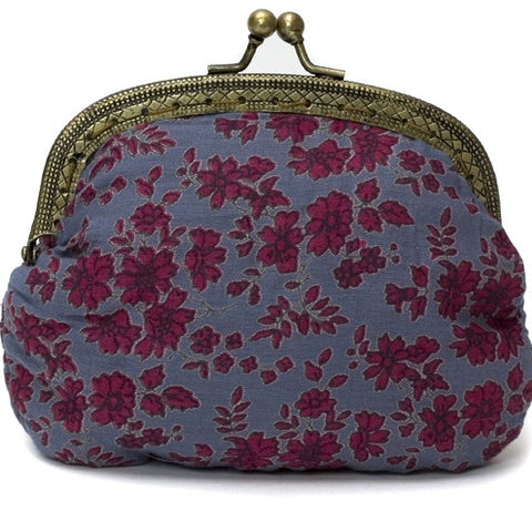 Indigo Woodland Flower Print Clip Purse