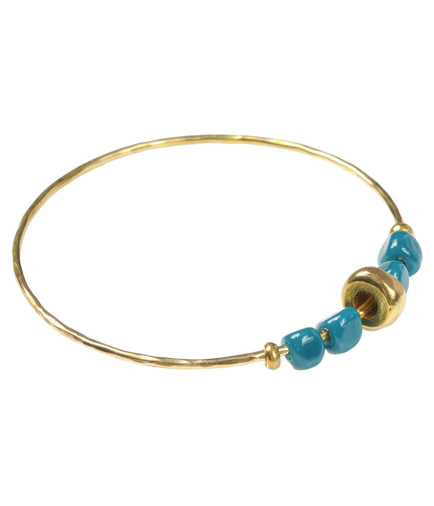 Brass Bangle with Recycled Teal Glass Pebble