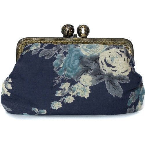 Dark Blue Vintage Rose Molly Purse