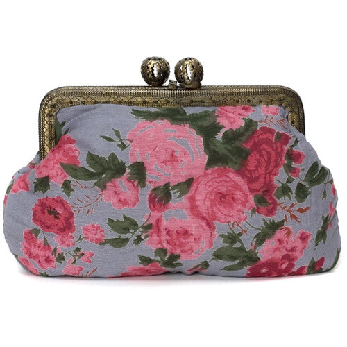 Smoky Blue Vintage Rose Molly Purse