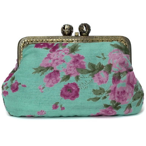 Turquoise Vintage Rose Molly Purse