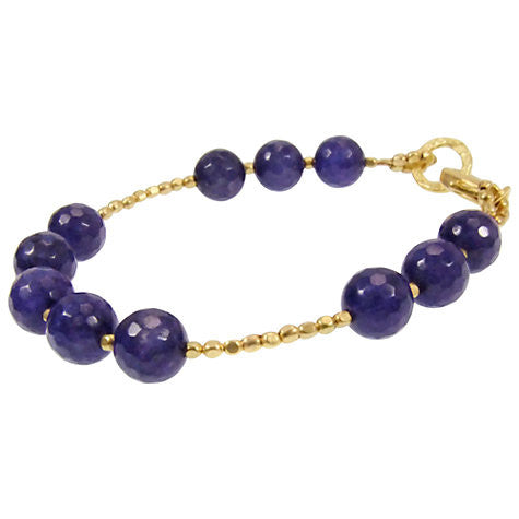 Blue Jade Gold Plated Bracelet