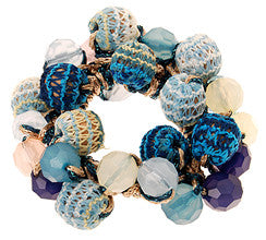 Blue Hand Beaded Knit Hair Tie