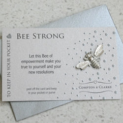 Bee Strong Carded Pocket Charm