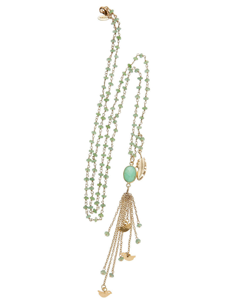 Semi-Precious Tassle Bird Necklace