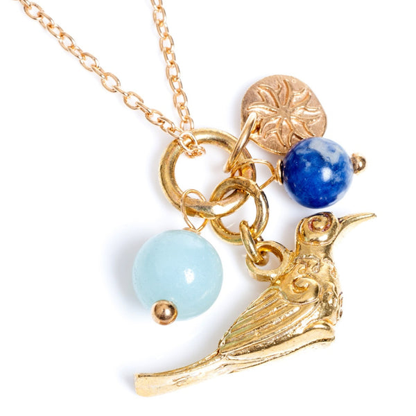 Semi-Precious Gold Plated Bird of Paradise Necklace