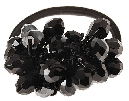 Elegant Black Hand Beaded Hair Tie