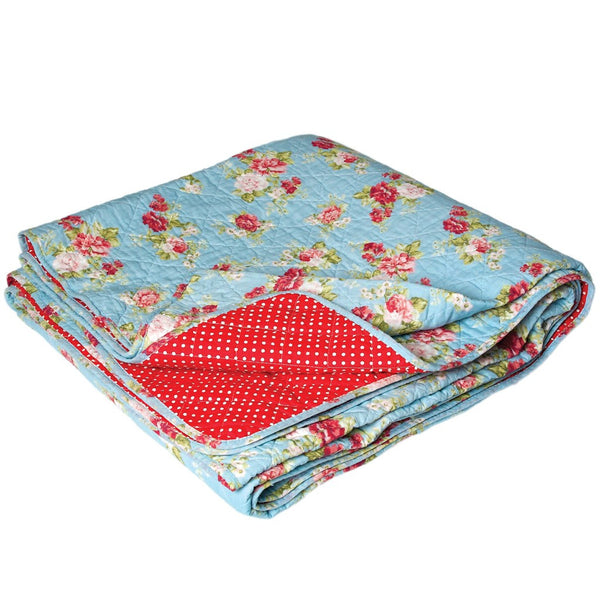 Blue Cottage Rose Quilted Double Bedspread