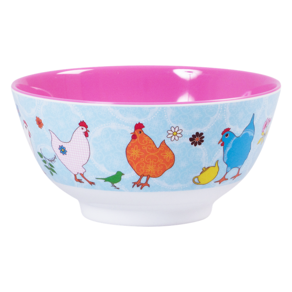 Blue Melamine Hen Bowl