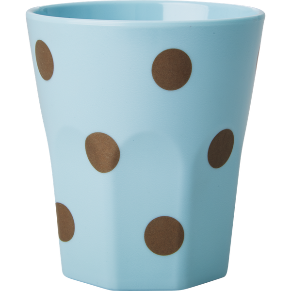 Large Blue Melamine Cup with Gold Polka Dots