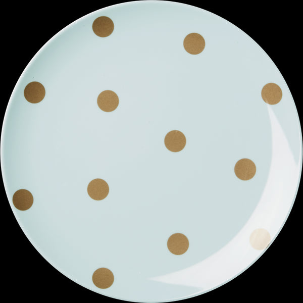 Melamine Blue Side Plate with Gold Polka Dots