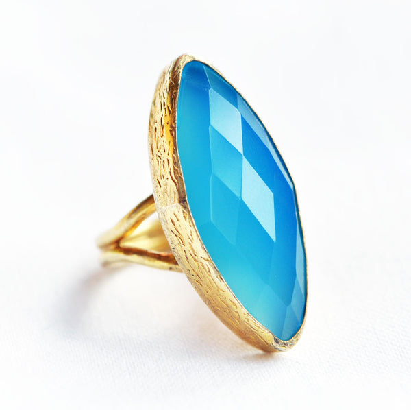 Blue Quartz Gold Plated Ring