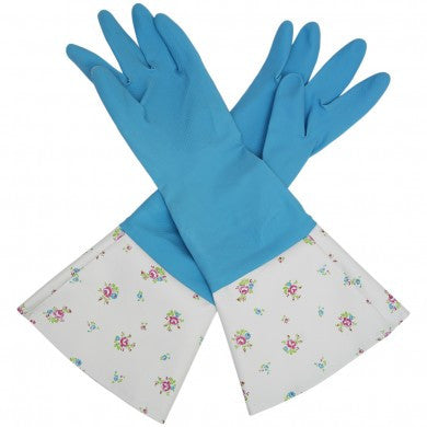 Vintage Blue Roses Washing Up Gloves
