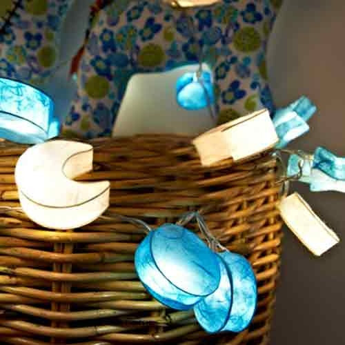 Blue/White Stars & Moons String Lights