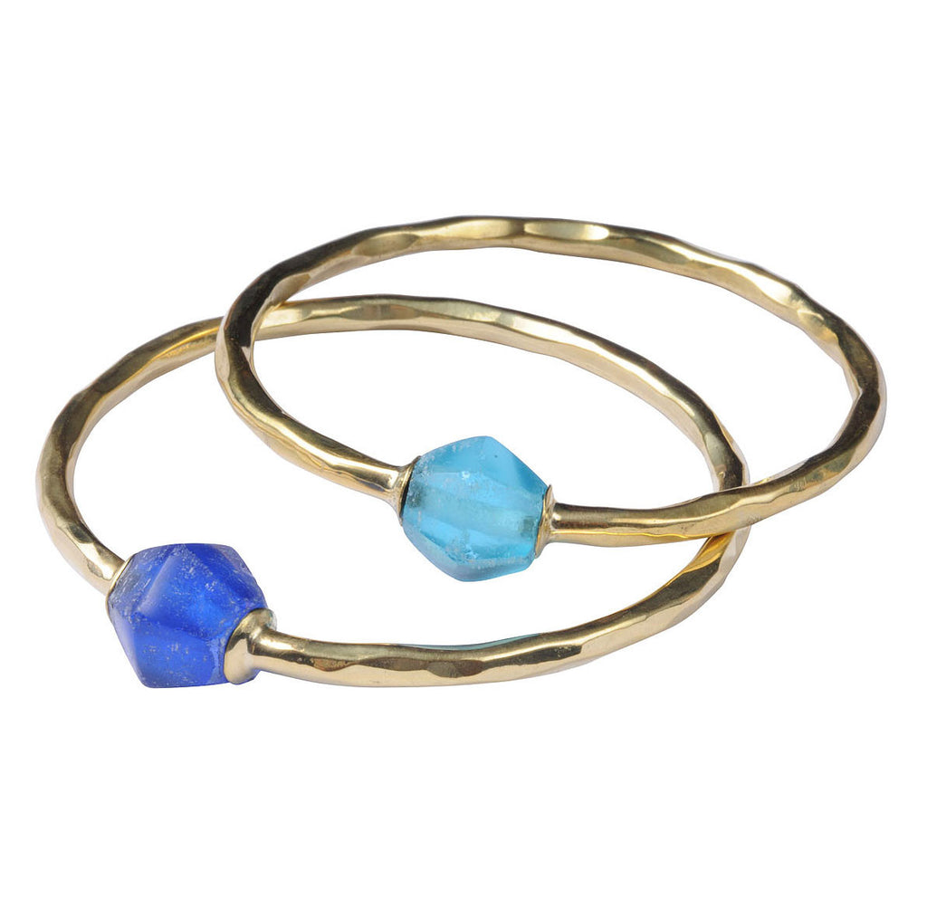 Brass Bangle with Recycled Glass
