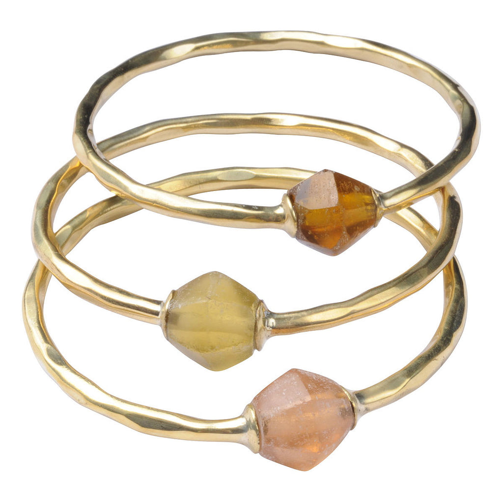 Brass Bola Bangles with Recycled Glass