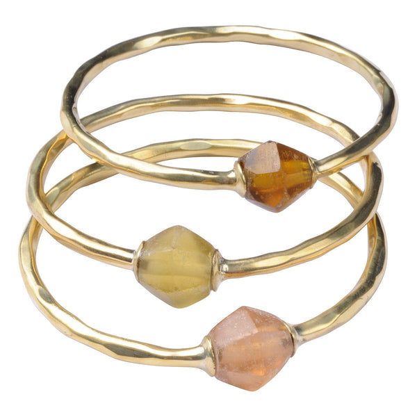 Brass Bola Bangles Earth Tones