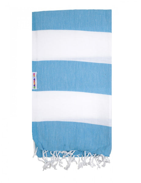 Aqua/White Hammamas Cotton Towel/Wrap