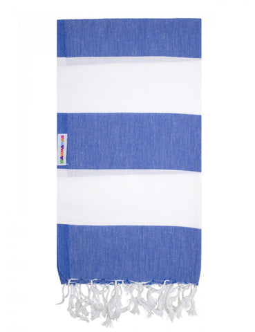 Azure/White Bold Hammamas Cotton Towel