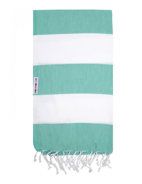 Spearmint/White Hammamas Cotton Towel/Wrap