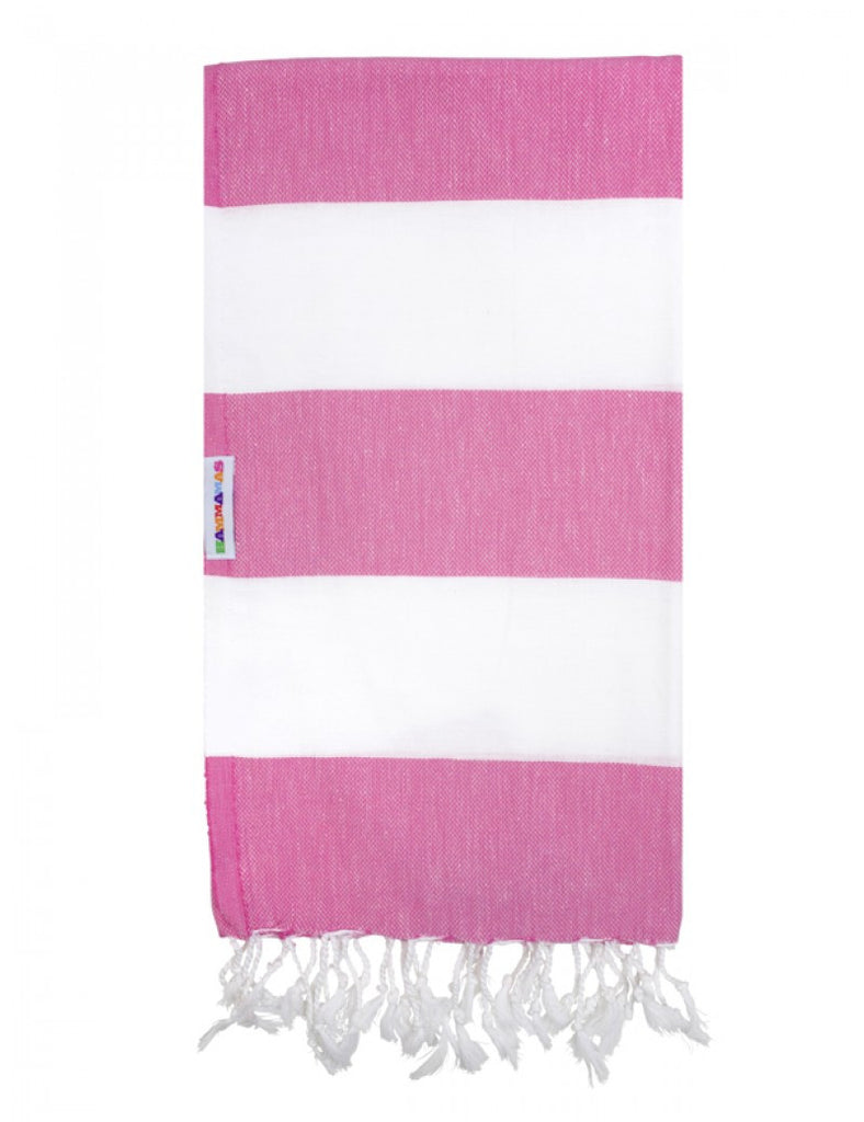 Watermelon/White Hammamas Cotton Towel/Wrap
