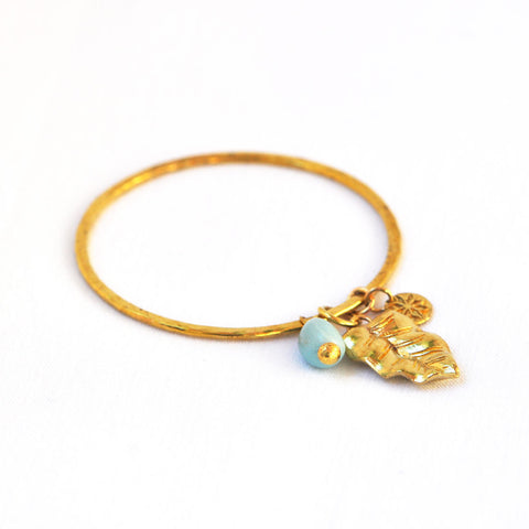Brass Leaf Bangle with Amazonite