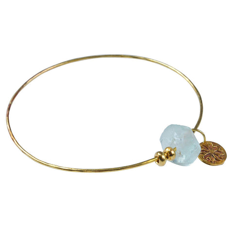 Brass Bangle with Aqua Recycled Glass