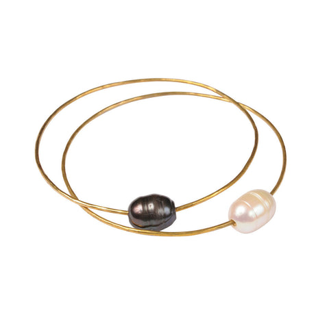 Brass Bangles with Freshwater Pearls