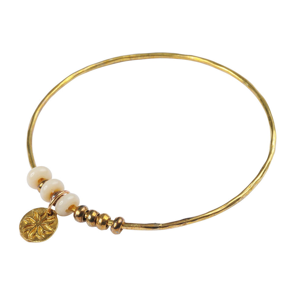Brass Bangle with Recycled Ivory Glass