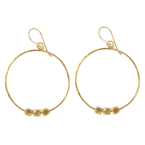 Brass Earrings with Solid Berber Beads