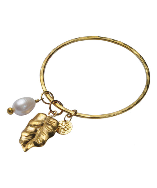 Brass Leaf Bangle with Freshwater Pearl