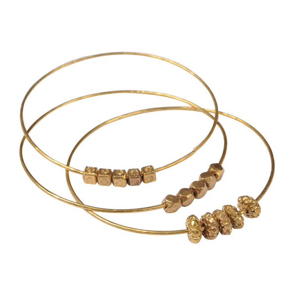 3 Solid Brass Beaded Bangles