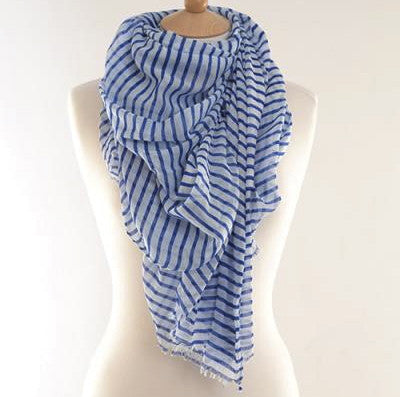 Blue Breton Striped Scarf