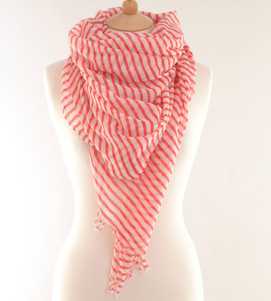 Red Breton Striped Print Scarf