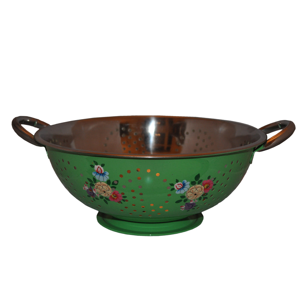 Bright Green Hand Painted Enamel Colander