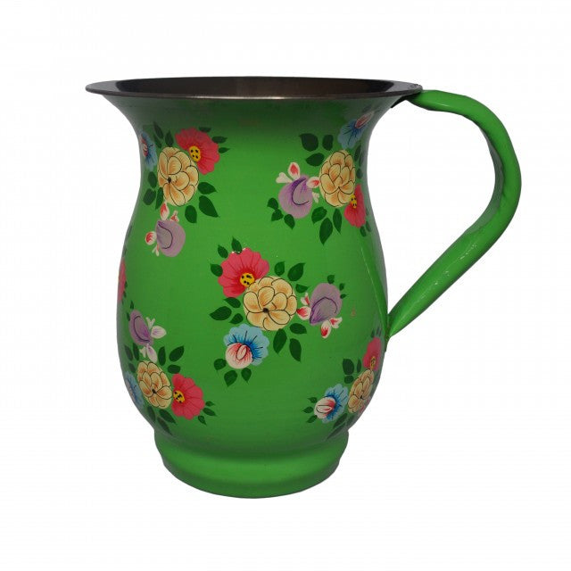 Bright Green Hand Painted Enamel Jug