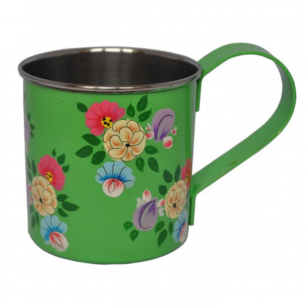 Bright Green Hand Painted Enamel Mug