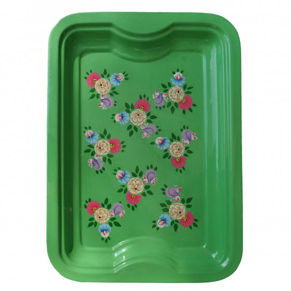 Bright Green Hand Painted Enamel Rectangular Tray